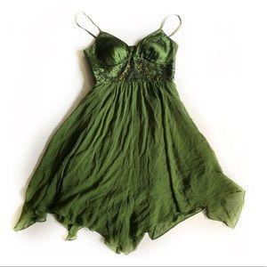 Vintage Adrianna Papell Embellished Silk Dress